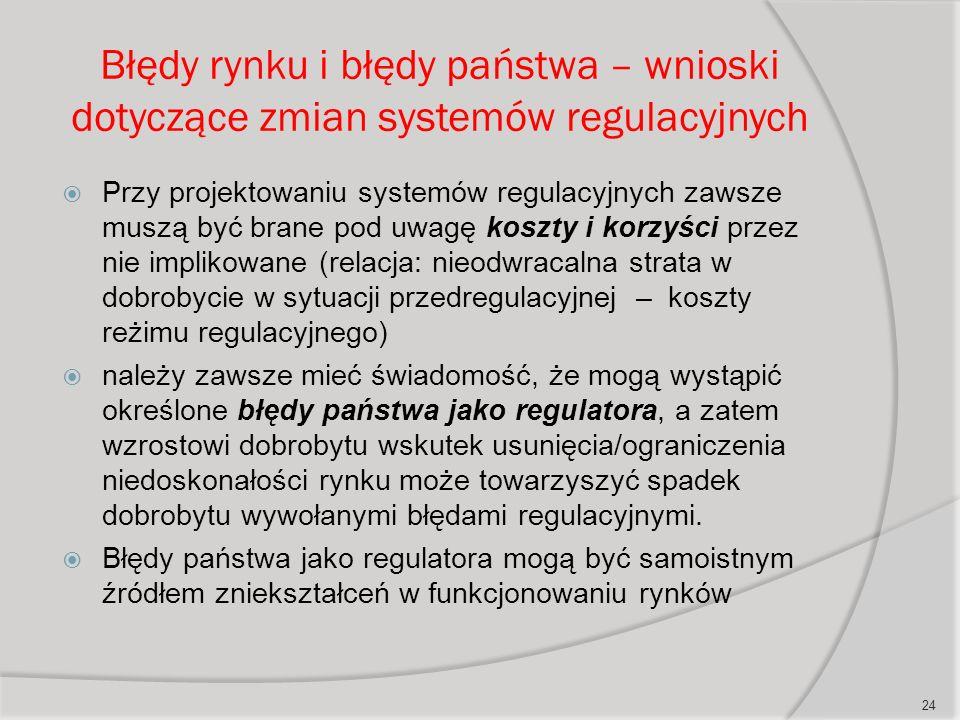 Błędy rynku i błędy państwa – wnioski dotyczące zmian systemów regulacyjnych  Przy projektowaniu systemów regulacyjnych zawsze muszą być brane pod uwagę koszty i korzyści przez nie implikowane (relacja: nieodwracalna strata w dobrobycie w sytuacji przedregulacyjnej – koszty reżimu regulacyjnego)  należy zawsze mieć świadomość, że mogą wystąpić określone błędy państwa jako regulatora, a zatem wzrostowi dobrobytu wskutek usunięcia/ograniczenia niedoskonałości rynku może towarzyszyć spadek dobrobytu wywołanymi błędami regulacyjnymi.