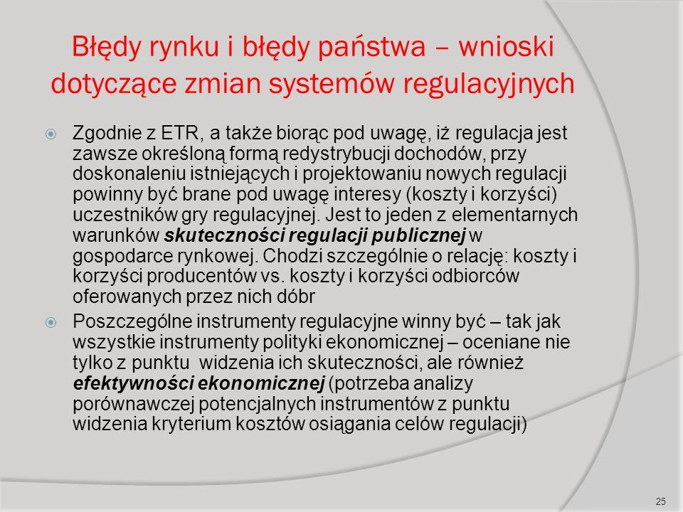 Błędy rynku i błędy państwa – wnioski dotyczące zmian systemów regulacyjnych  Zgodnie z ETR, a także biorąc pod uwagę, iż regulacja jest zawsze określoną formą redystrybucji dochodów, przy doskonaleniu istniejących i projektowaniu nowych regulacji powinny być brane pod uwagę interesy (koszty i korzyści) uczestników gry regulacyjnej.