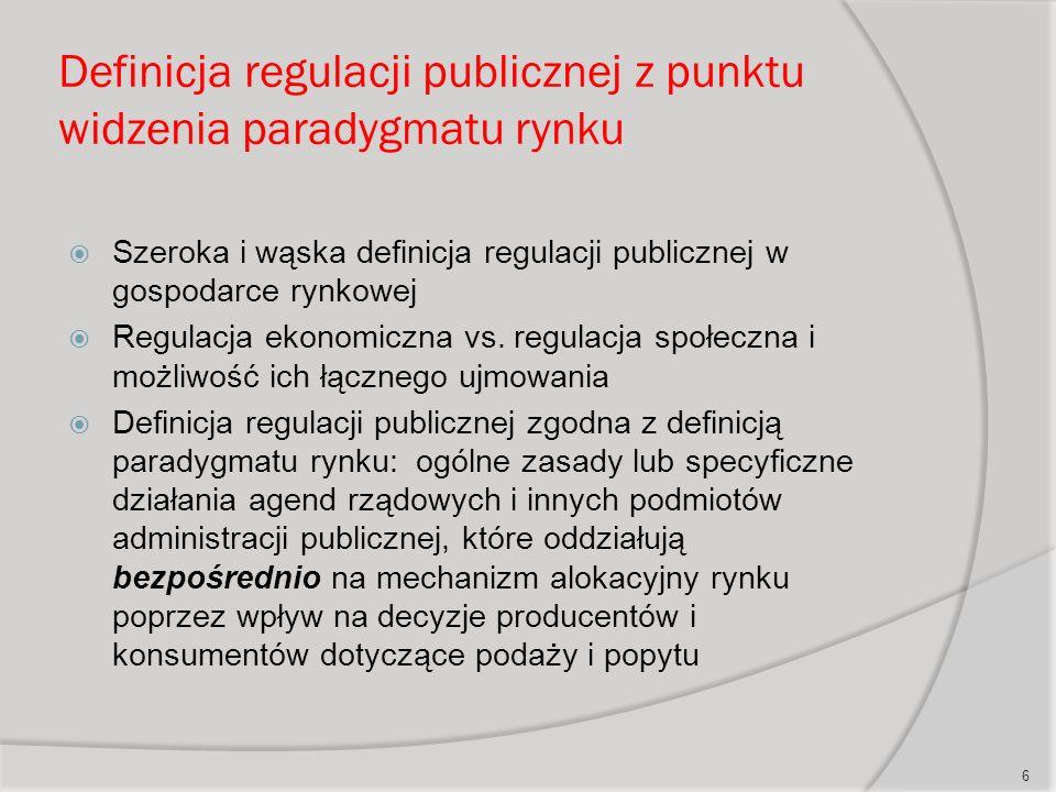 Definicja regulacji publicznej z punktu widzenia paradygmatu rynku  Szeroka i wąska definicja regulacji publicznej w gospodarce rynkowej  Regulacja ekonomiczna vs.