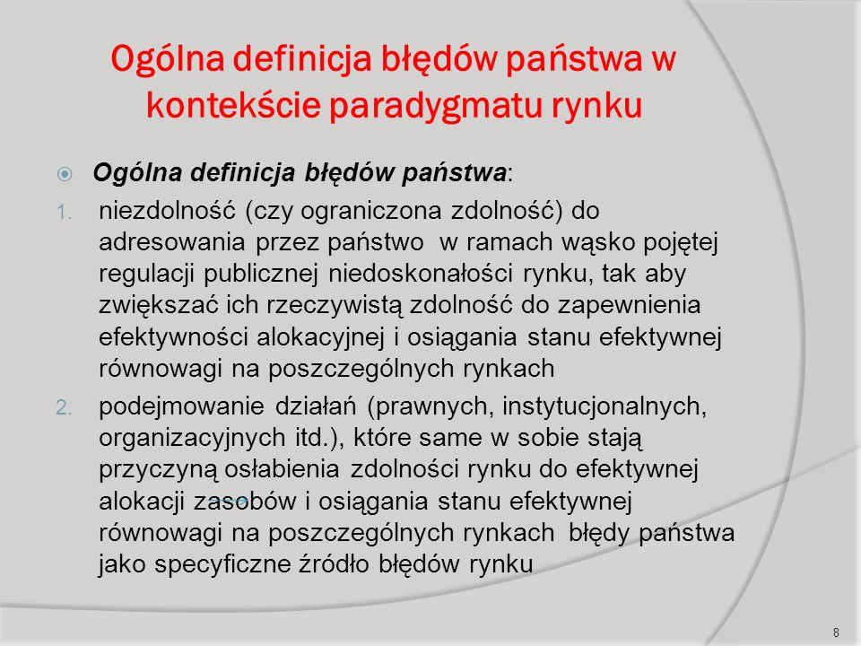 Ogólna definicja błędów państwa w kontekście paradygmatu rynku  Ogólna definicja błędów państwa: 1.