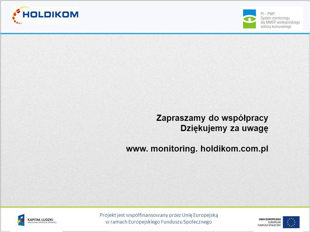 Projekt jest współfinansowany przez Unię Europejską w ramach Europejskiego Funduszu Społecznego Zapraszamy do współpracy Dziękujemy za uwagę www. moni
