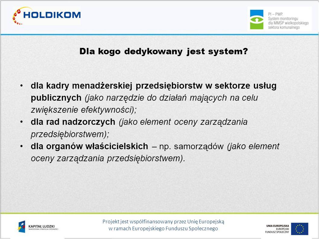 Projekt jest współfinansowany przez Unię Europejską w ramach Europejskiego Funduszu Społecznego Dla kogo dedykowany jest system? dla kadry menadżerski