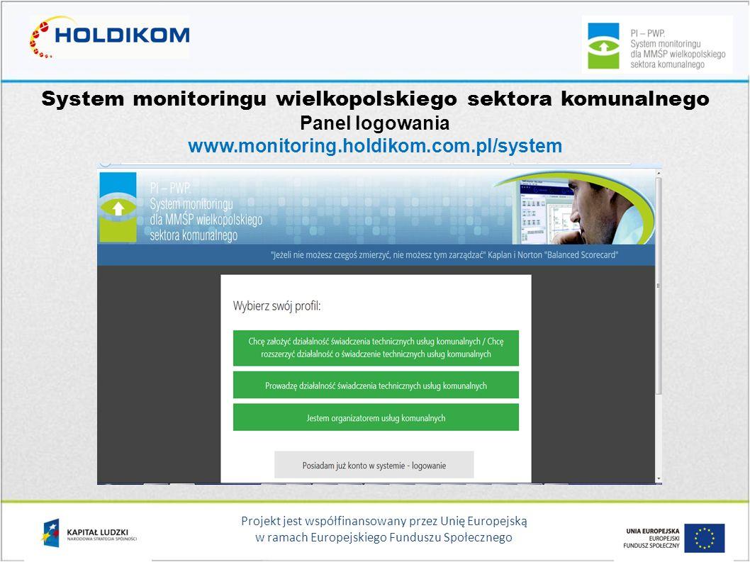 System monitoringu wielkopolskiego sektora komunalnego Panel logowania www.monitoring.holdikom.com.pl/system
