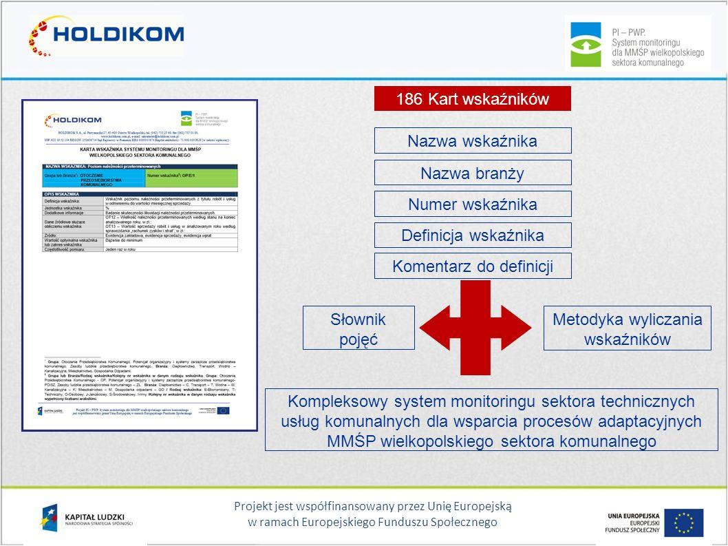 Projekt jest współfinansowany przez Unię Europejską w ramach Europejskiego Funduszu Społecznego Analityczne podejście do pomiaru efektywności systemu usług komunalnych Bloki tematyczne wskaźników na przykładzie branży transportowej (przedsiębiorstwo realizujące usługi miejskiego transportu publicznego – operator) cd.:  kryteria środowiskowe np.: wskaźnik syntetyczny standardu środowiskowego (EURO, EEV)  realizacja pracy przewozowej np.: wartość zaplanowanej pracy przewozowej do pracy zrealizowanej  jakość realizowanych usług np.: wskaźnik punktualności kursowania pojazdów wg rozkładów jazdy