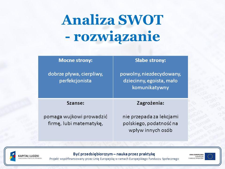 Analiza SWOT - rozwiązanie Być przedsiębiorczym – nauka przez praktykę Projekt współfinansowany przez Unię Europejską w ramach Europejskiego Funduszu Społecznego Mocne strony: dobrze pływa, cierpliwy, perfekcjonista Słabe strony: powolny, niezdecydowany, dziecinny, egoista, mało komunikatywny Szanse: pomaga wujkowi prowadzić firmę, lubi matematykę, Zagrożenia: nie przepada za lekcjami polskiego, podatność na wpływ innych osób