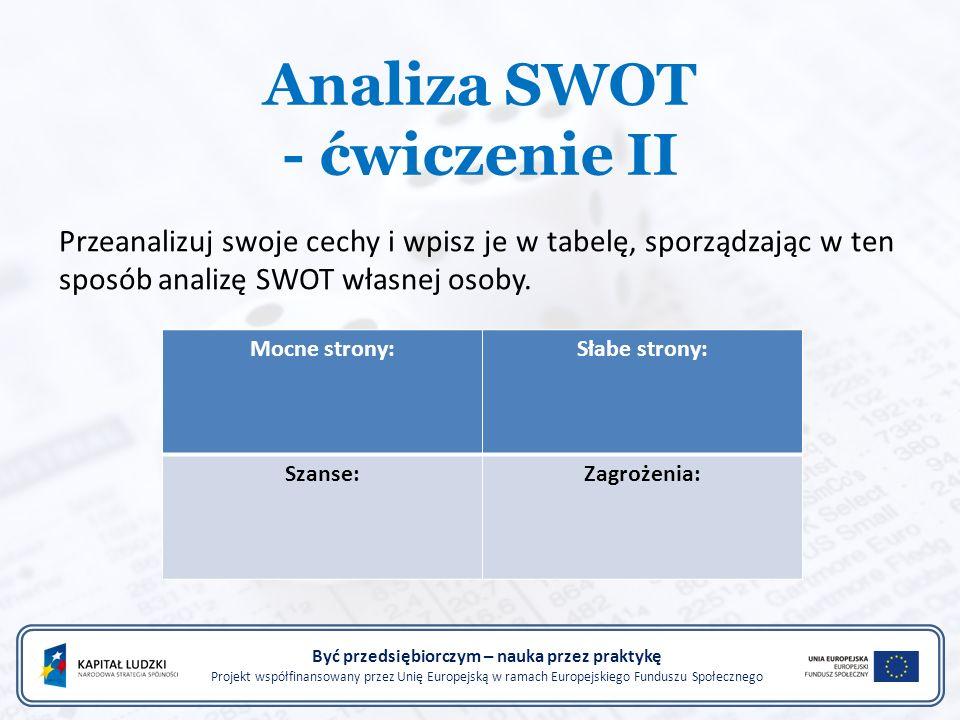 Analiza SWOT - ćwiczenie II Być przedsiębiorczym – nauka przez praktykę Projekt współfinansowany przez Unię Europejską w ramach Europejskiego Funduszu Społecznego Przeanalizuj swoje cechy i wpisz je w tabelę, sporządzając w ten sposób analizę SWOT własnej osoby.