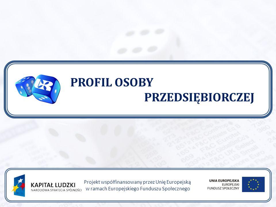 PROFIL OSOBY PRZEDSIĘBIORCZEJ Projekt współfinansowany przez Unię Europejską w ramach Europejskiego Funduszu Społecznego