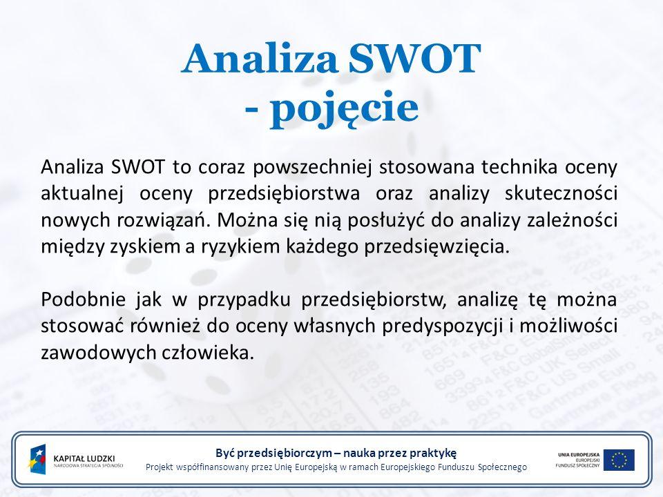 Analiza SWOT - pojęcie Być przedsiębiorczym – nauka przez praktykę Projekt współfinansowany przez Unię Europejską w ramach Europejskiego Funduszu Społecznego Analiza SWOT to coraz powszechniej stosowana technika oceny aktualnej oceny przedsiębiorstwa oraz analizy skuteczności nowych rozwiązań.