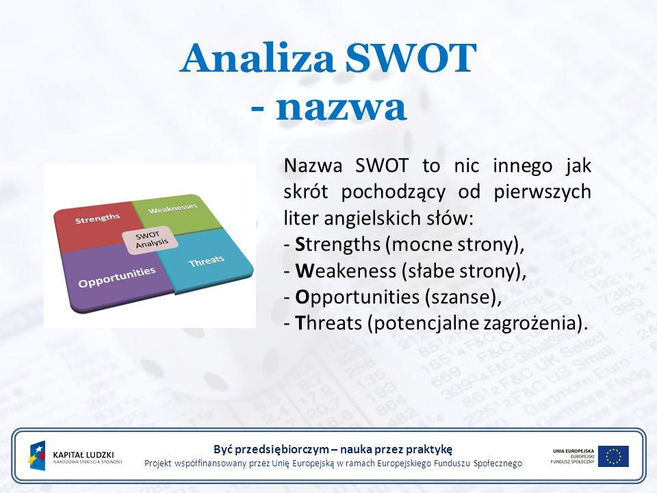 Analiza SWOT - nazwa Być przedsiębiorczym – nauka przez praktykę Projekt współfinansowany przez Unię Europejską w ramach Europejskiego Funduszu Społecznego Nazwa SWOT to nic innego jak skrót pochodzący od pierwszych liter angielskich słów: - Strengths (mocne strony), - Weakeness (słabe strony), - Opportunities (szanse), - Threats (potencjalne zagrożenia).