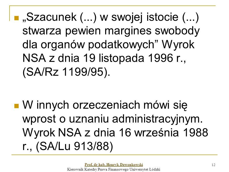 """12 """"Szacunek (...) w swojej istocie (...) stwarza pewien margines swobody dla organów podatkowych Wyrok NSA z dnia 19 listopada 1996 r., (SA/Rz 1199/95)."""