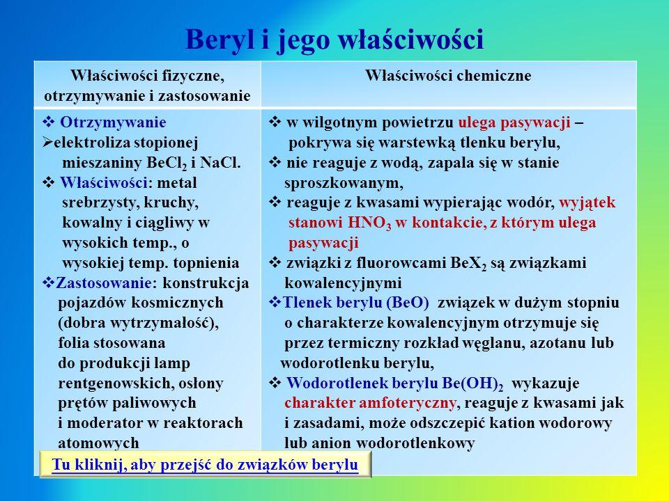 Beryl i jego właściwości Właściwości fizyczne, otrzymywanie i zastosowanie Właściwości chemiczne  Otrzymywanie  elektroliza stopionej mieszaniny BeC
