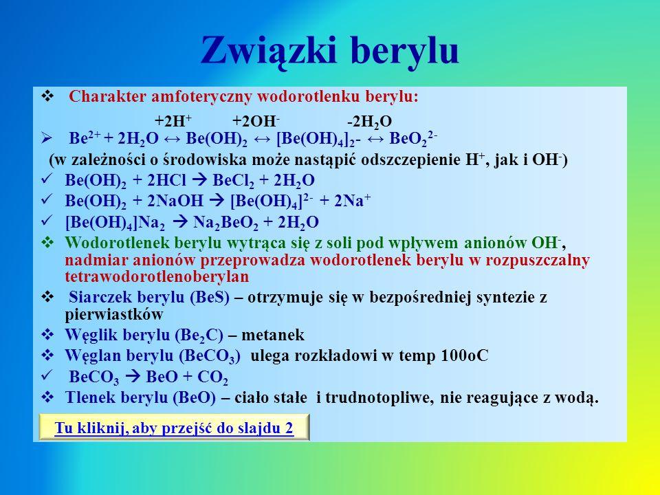 Związki berylu  Charakter amfoteryczny wodorotlenku berylu:  Be 2+ + 2H 2 O ↔ Be(OH) 2 ↔ [Be(OH) 4 ] 2 - ↔ BeO 2 2- (w zależności o środowiska może