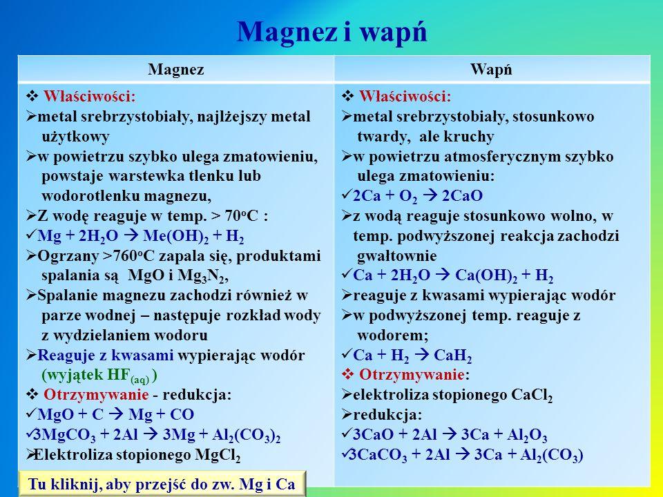 Magnez i wapń MagnezWapń  Właściwości:  metal srebrzystobiały, najlżejszy metal użytkowy  w powietrzu szybko ulega zmatowieniu, powstaje warstewka