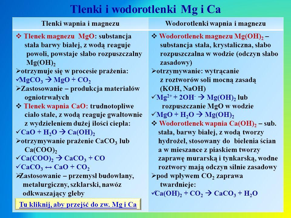 Tlenki i wodorotlenki Mg i Ca Tlenki wapnia i magnezuWodorotlenki wapnia i magnezu  Tlenek magnezu MgO: substancja stała barwy białej, z wodą reaguje