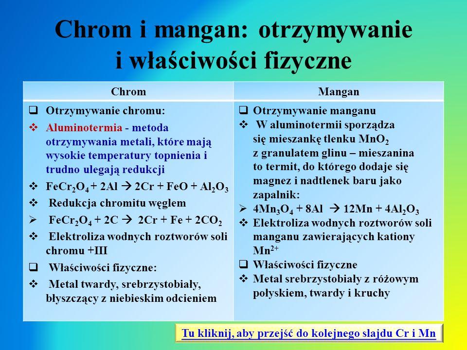 Chrom i mangan: otrzymywanie i właściwości fizyczne ChromMangan  Otrzymywanie chromu:  Aluminotermia - metoda otrzymywania metali, które mają wysoki