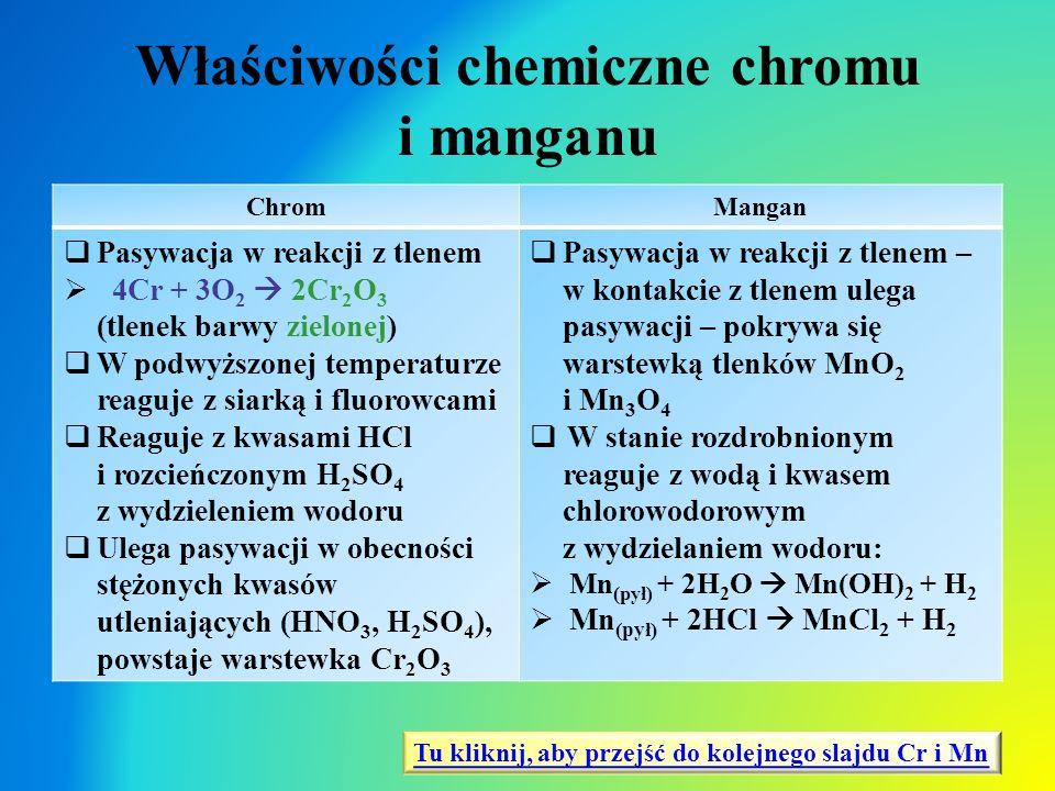Właściwości chemiczne chromu i manganu ChromMangan  Pasywacja w reakcji z tlenem  4Cr + 3O 2  2Cr 2 O 3 (tlenek barwy zielonej)  W podwyższonej te