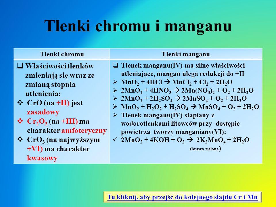Tlenki chromu i manganu Tlenki chromuTlenki manganu  Właściwości tlenków zmieniają się wraz ze zmianą stopnia utlenienia:  CrO (na +II) jest zasadow
