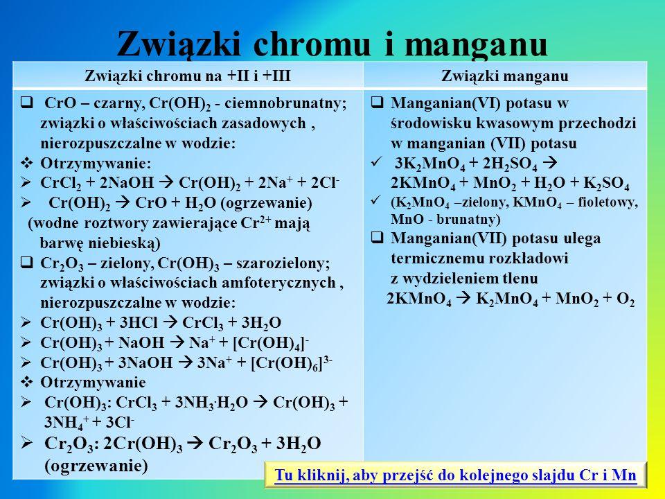 Związki chromu i manganu Związki chromu na +II i +IIIZwiązki manganu  CrO – czarny, Cr(OH) 2 - ciemnobrunatny; związki o właściwościach zasadowych, n