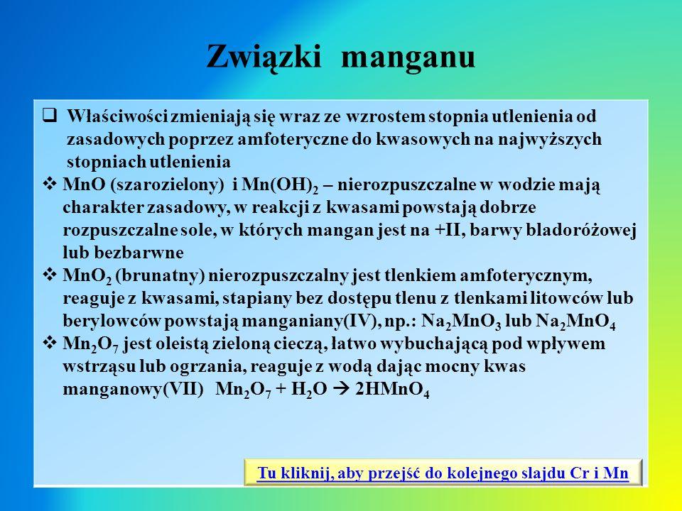 Związki manganu  Właściwości zmieniają się wraz ze wzrostem stopnia utlenienia od zasadowych poprzez amfoteryczne do kwasowych na najwyższych stopnia