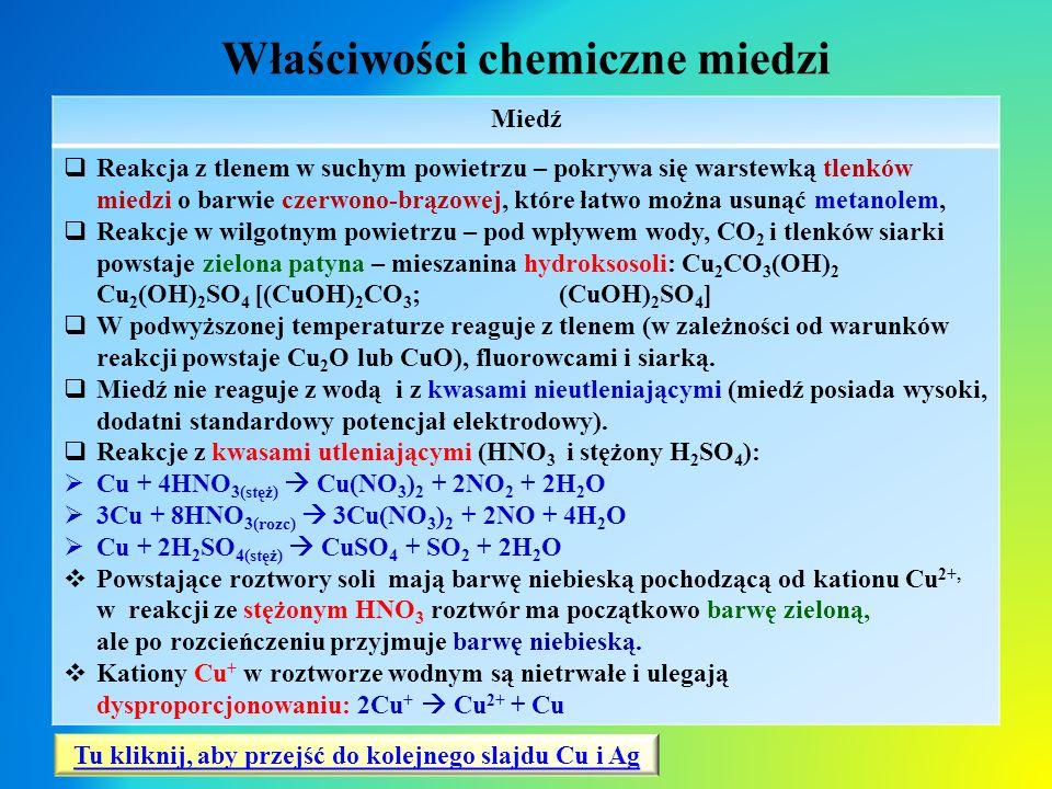 Właściwości chemiczne miedzi Miedź  Reakcja z tlenem w suchym powietrzu – pokrywa się warstewką tlenków miedzi o barwie czerwono-brązowej, które łatw