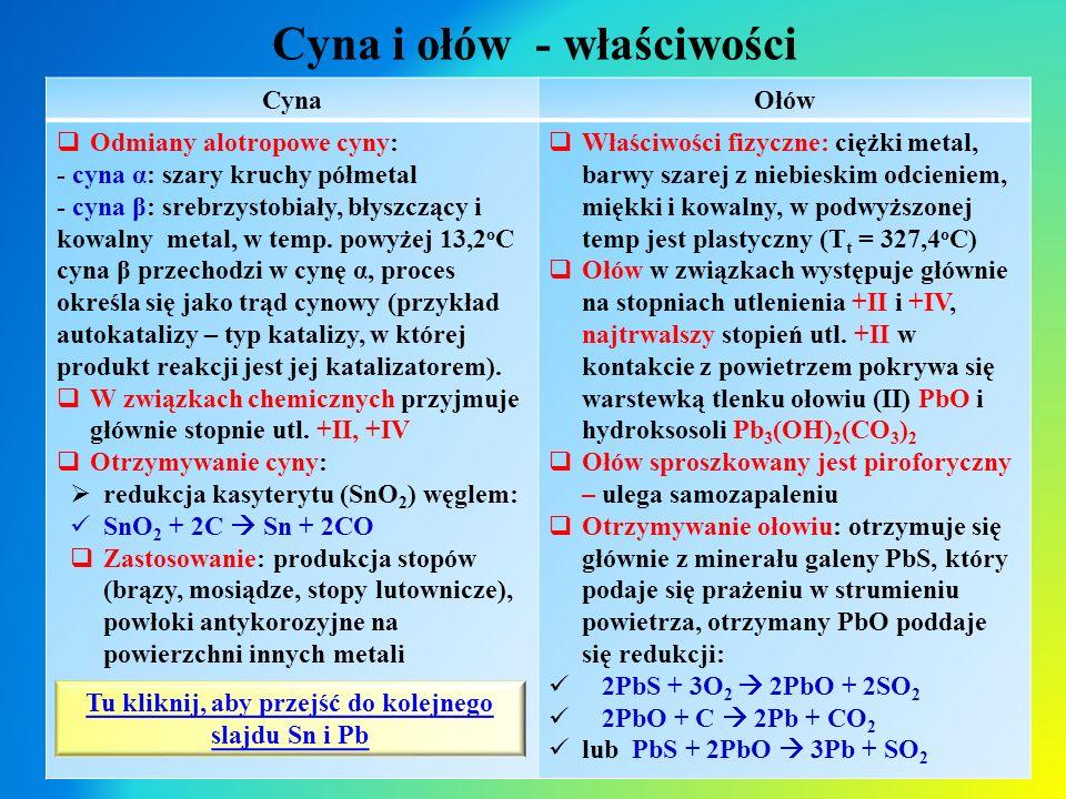 Cyna i ołów - właściwości CynaOłów  Odmiany alotropowe cyny: - cyna α: szary kruchy półmetal - cyna β: srebrzystobiały, błyszczący i kowalny metal, w