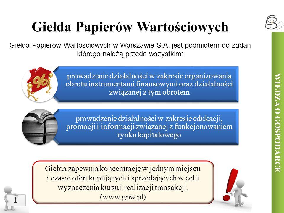 I Giełda Papierów Wartościowych Giełda Papierów Wartościowych w Warszawie S.A.
