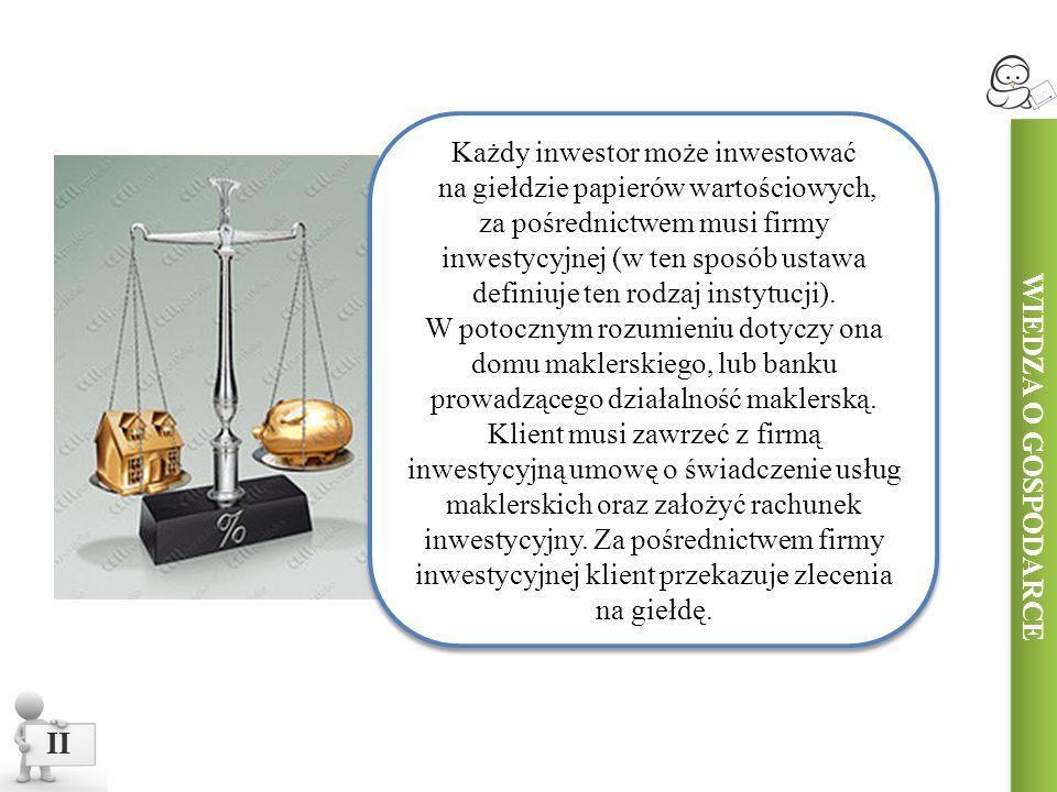 II Każdy inwestor może inwestować na giełdzie papierów wartościowych, za pośrednictwem musi firmy inwestycyjnej (w ten sposób ustawa definiuje ten rodzaj instytucji).