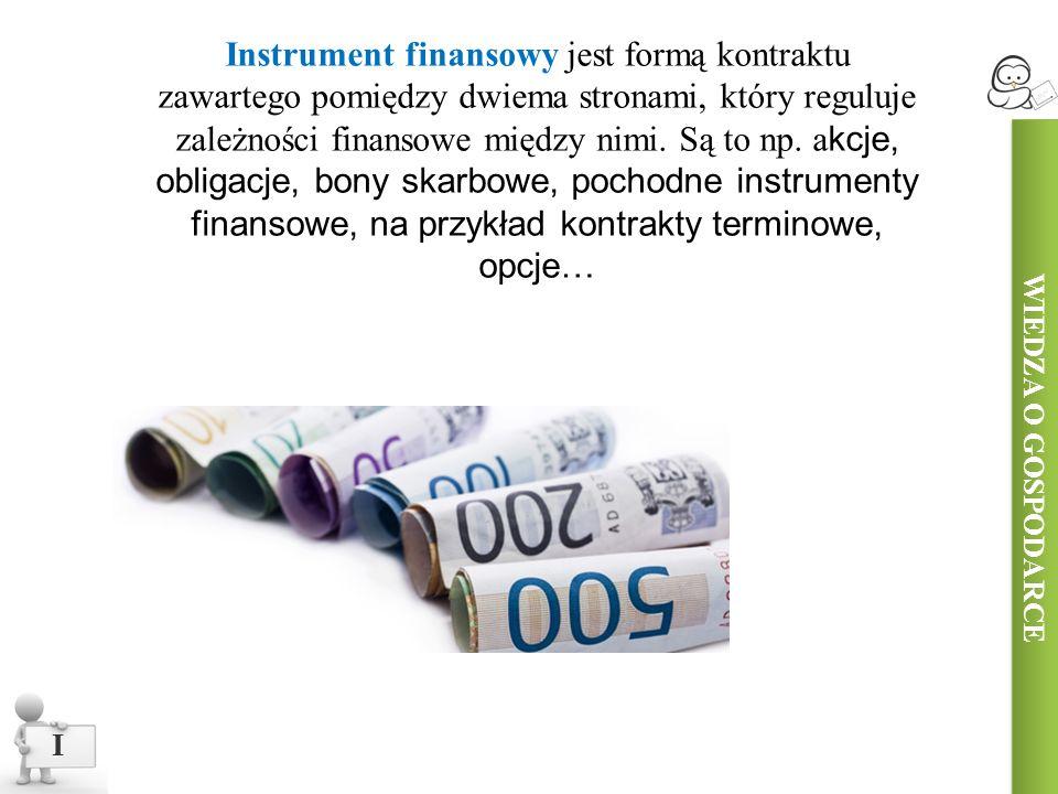 Instrument finansowy jest formą kontraktu zawartego pomiędzy dwiema stronami, który reguluje zależności finansowe między nimi.