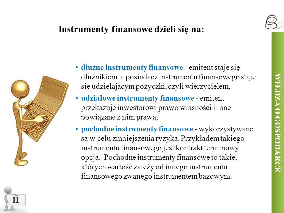dłużne instrumenty finansowe - emitent staje się dłużnikiem, a posiadacz instrumentu finansowego staje się udzielającym pożyczki, czyli wierzycielem, udziałowe instrumenty finansowe - emitent przekazuje inwestorowi prawo własności i inne powiązane z nim prawa, pochodne instrumenty finansowe - wykorzystywane są w celu zmniejszenia ryzyka.