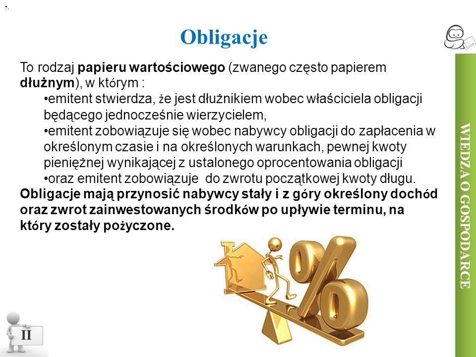 II Obligacje WIEDZA O GOSPODARCE.