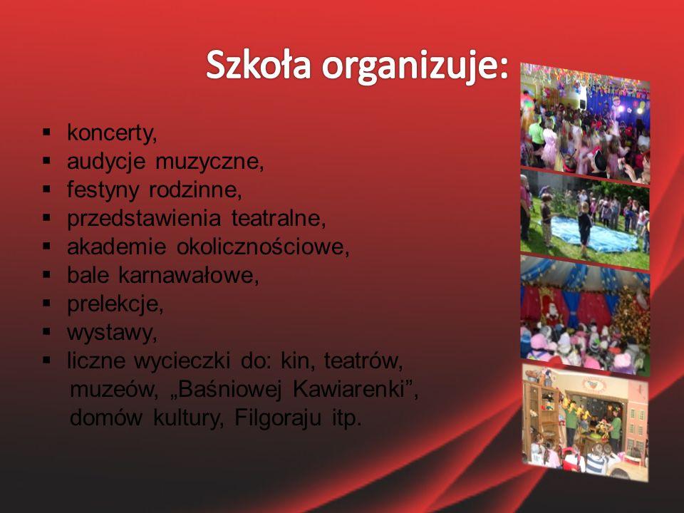  zajęcia muzyczne,  zajęcia z języka niemieckiego,  zajęcia z języka angielskiego,  gimnastykę korekcyjną,  zajęcia rehabilitacyjne,  Szkolny Klub Turystyczny,  Szkolny Klub Europejski,  organizacje szkolne (Samorząd Uczniowski).