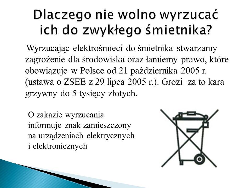 Wyrzucając elektrośmieci do śmietnika stwarzamy zagrożenie dla środowiska oraz łamiemy prawo, które obowiązuje w Polsce od 21 października 2005 r. (us