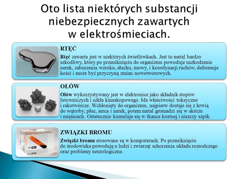 RTĘĆ Rtęć zawarta jest w niektórych świetlówkach. Jest to metal bardzo szkodliwy, który po przeniknięciu do organizmu powoduje uszkodzenie nerek, zabu