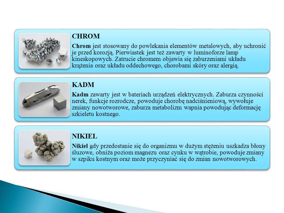 CHROM Chrom jest stosowany do powlekania elementów metalowych, aby uchronić je przed korozją. Pierwiastek jest też zawarty w luminoforze lamp kineskop