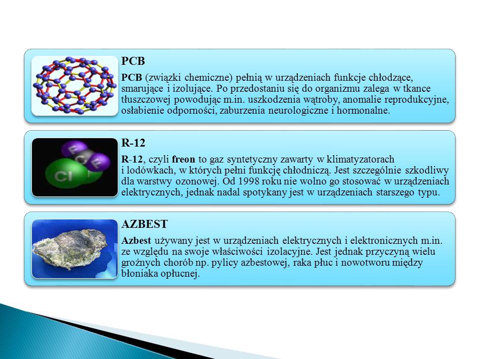 PCB PCB (związki chemiczne) pełnią w urządzeniach funkcje chłodzące, smarujące i izolujące. Po przedostaniu się do organizmu zalega w tkance tłuszczow