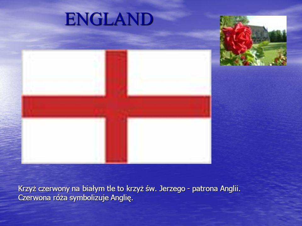 ENGLAND Krzyż czerwony na białym tle to krzyż św. Jerzego - patrona Anglii.