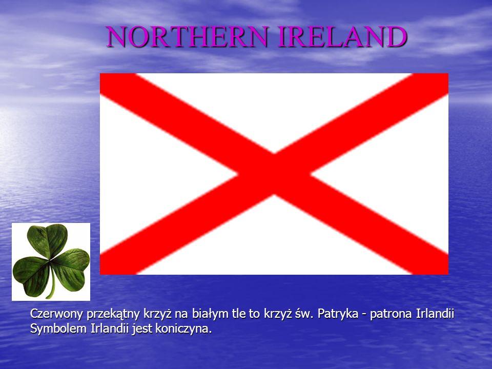 NORTHERN IRELAND Czerwony przekątny krzyż na białym tle to krzyż św.