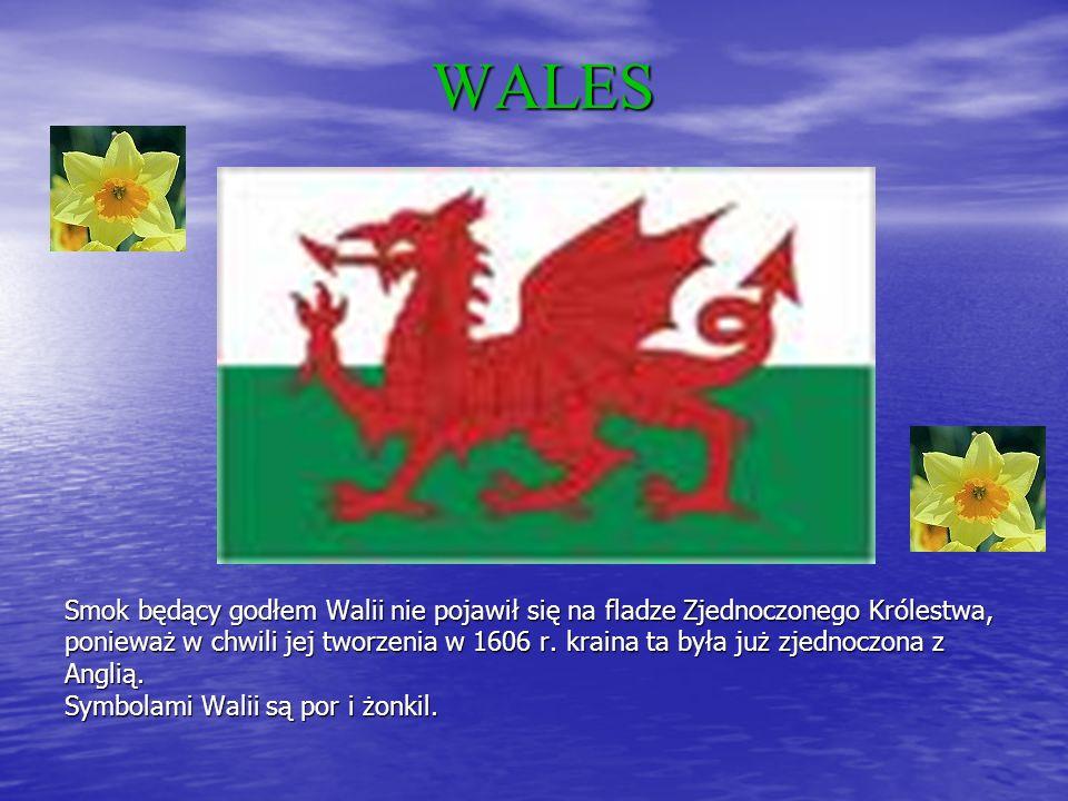 WALES Smok będący godłem Walii nie pojawił się na fladze Zjednoczonego Królestwa, ponieważ w chwili jej tworzenia w 1606 r.