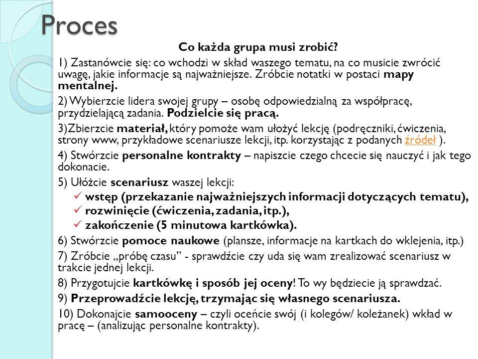 Proces Co każda grupa musi zrobić? 1) Zastanówcie się: co wchodzi w skład waszego tematu, na co musicie zwrócić uwagę, jakie informacje są najważniejs