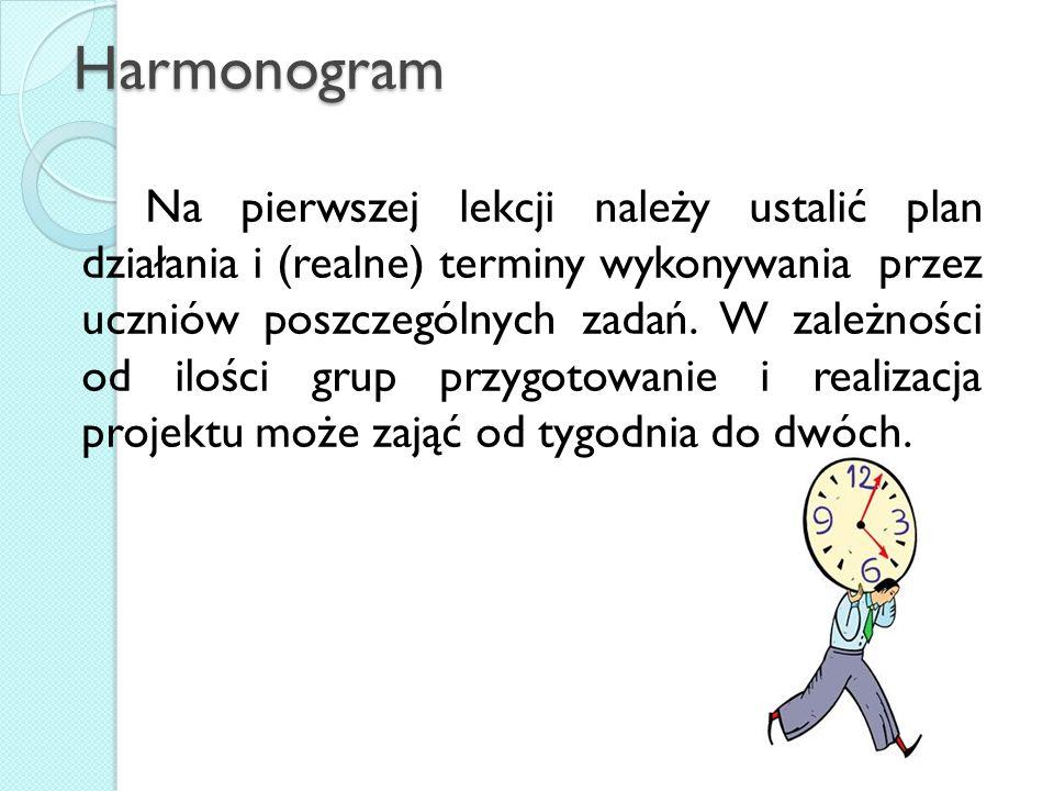 Harmonogram Na pierwszej lekcji należy ustalić plan działania i (realne) terminy wykonywania przez uczniów poszczególnych zadań. W zależności od ilośc