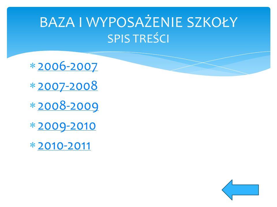  2006-2007 2006-2007  2007-2008 2007-2008  2008-2009 2008-2009  2009-2010 2009-2010  2010-2011 2010-2011 BAZA I WYPOSAŻENIE SZKOŁY SPIS TREŚCI
