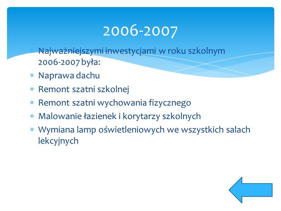 Najważniejszymi inwestycjami w roku szkolnym 2006-2007 była:  Naprawa dachu  Remont szatni szkolnej  Remont szatni wychowania fizycznego  Malowanie łazienek i korytarzy szkolnych  Wymiana lamp oświetleniowych we wszystkich salach lekcyjnych 2006-2007