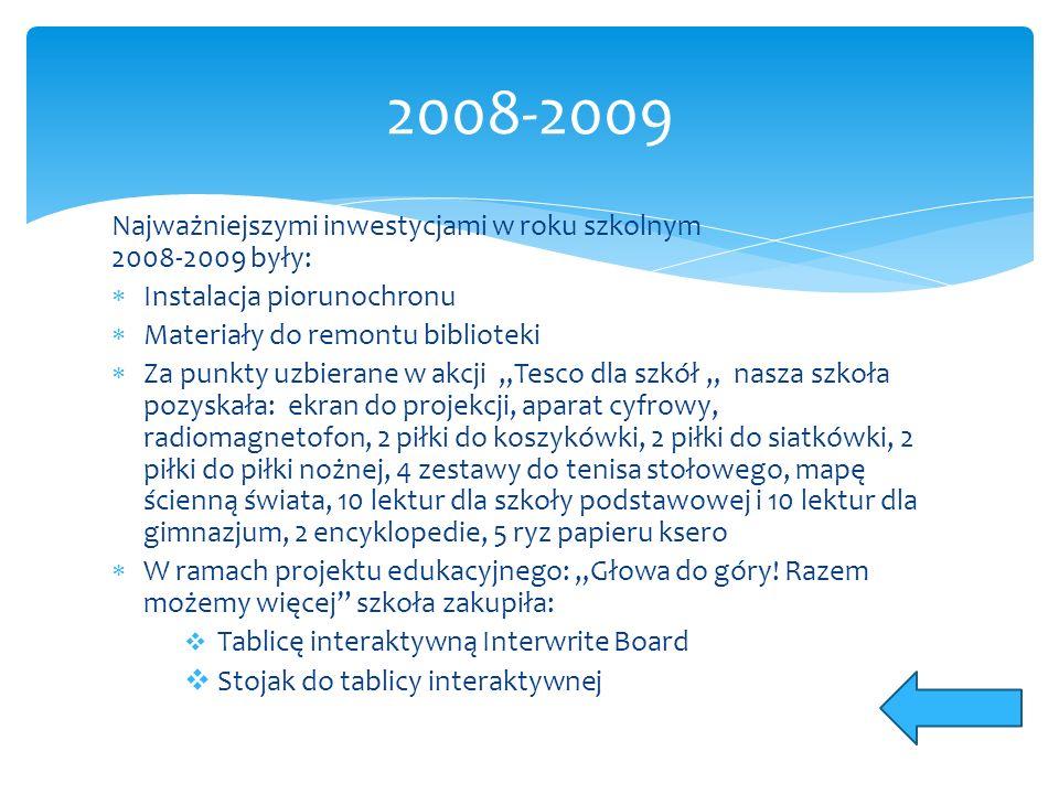 Najważniejszymi inwestycjami w roku szkolnym 2008-2009 były:  Instalacja piorunochronu  Materiały do remontu biblioteki  Za punkty uzbierane w akcj