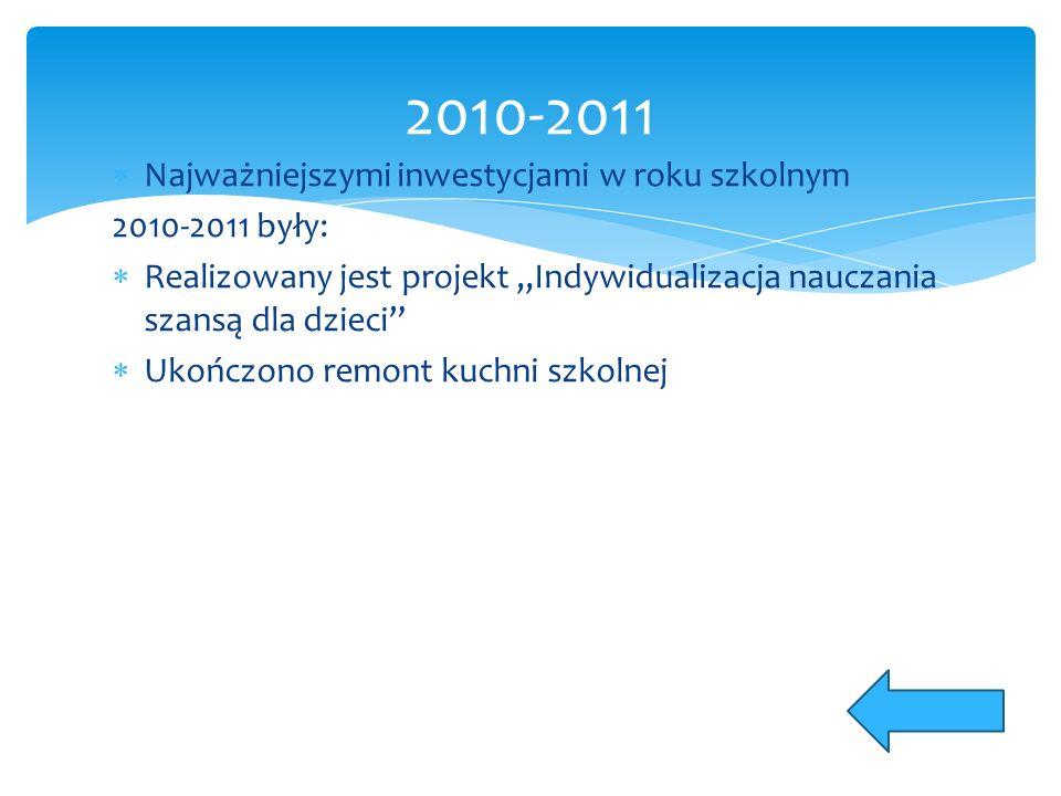 """ Najważniejszymi inwestycjami w roku szkolnym 2010-2011 były:  Realizowany jest projekt """"Indywidualizacja nauczania szansą dla dzieci  Ukończono remont kuchni szkolnej 2010-2011"""