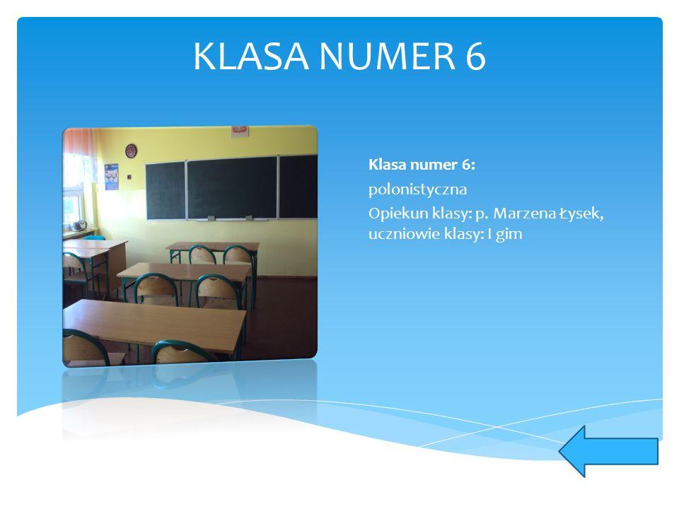 KLASA NUMER 6 Klasa numer 6: polonistyczna Opiekun klasy: p. Marzena Łysek, uczniowie klasy: I gim