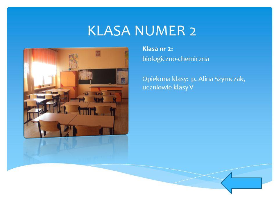 KLASA NUMER 2 Klasa nr 2: biologiczno-chemiczna Opiekuna klasy: p. Alina Szymczak, uczniowie klasy V