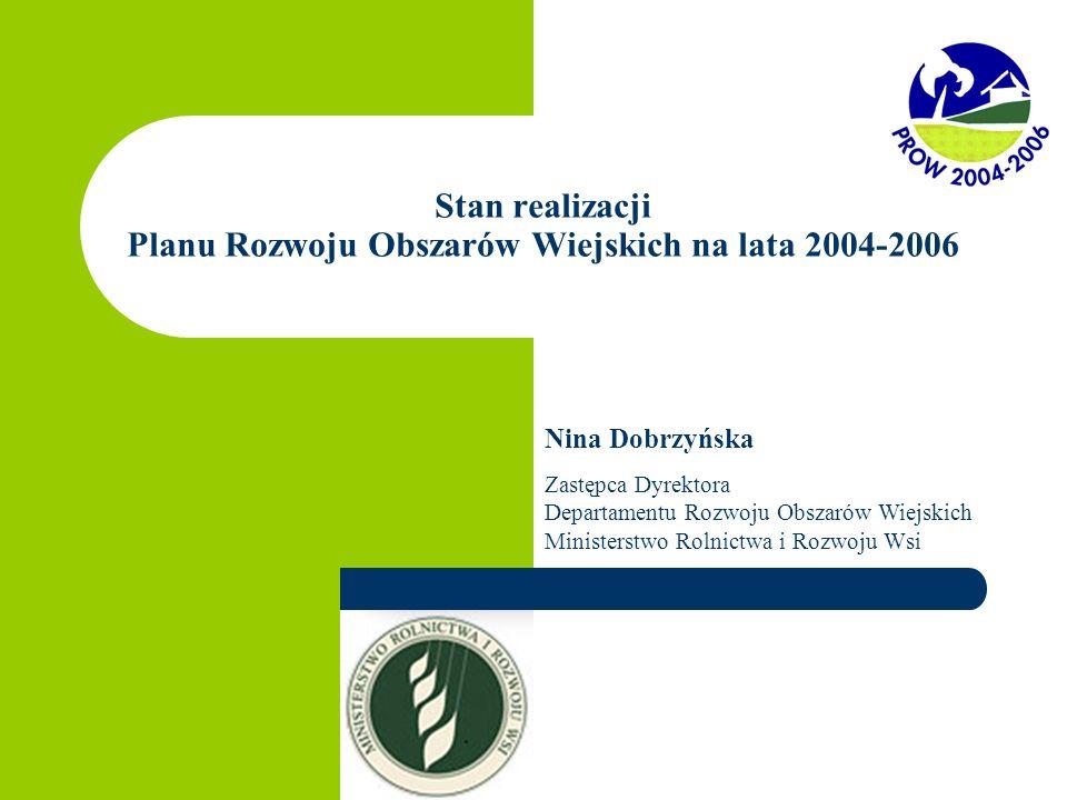 Stan realizacji Planu Rozwoju Obszarów Wiejskich na lata 2004-2006 Nina Dobrzyńska Zastępca Dyrektora Departamentu Rozwoju Obszarów Wiejskich Ministerstwo Rolnictwa i Rozwoju Wsi