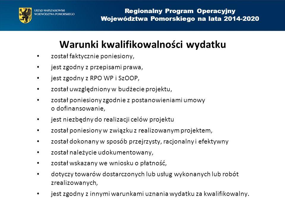 Regionalny Program Operacyjny Województwa Pomorskiego na lata 2014-2020 Koszty niekwalifikowalne w działaniu 8.3 zakup środków transportu, zakup sprzętu i wyposażenia nie podlegających amortyzacji oraz nieujętych w ewidencji środków trwałych, koszty związane z wyposażeniem i funkcjonowaniem bazy noclegowej oraz bazy gastronomicznej,