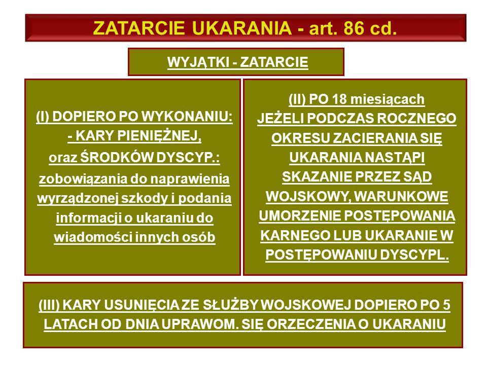 WYJĄTKI - ZATARCIE ZATARCIE UKARANIA - art.86 cd.