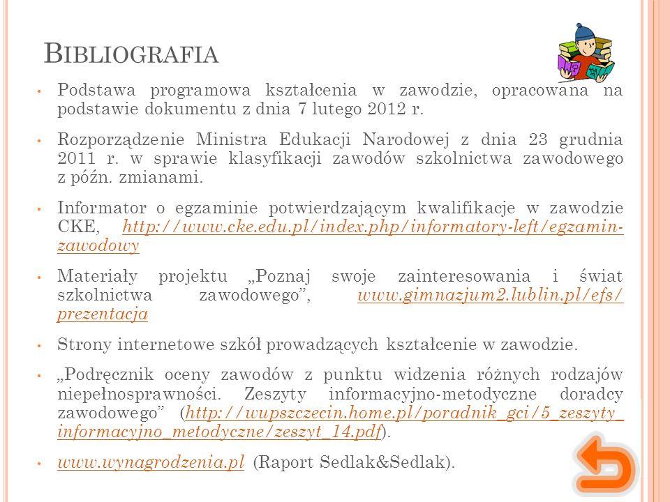 B IBLIOGRAFIA Podstawa programowa kształcenia w zawodzie, opracowana na podstawie dokumentu z dnia 7 lutego 2012 r.